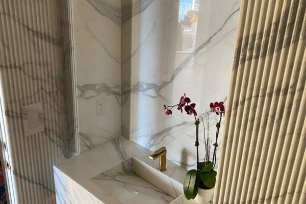 Italian Calacatta Marble Slabs with fluted detail & book matching veins